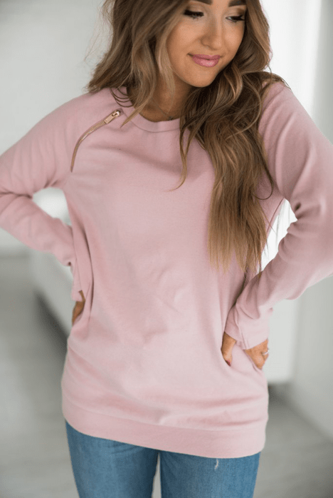 SideZip Pullover- Pink