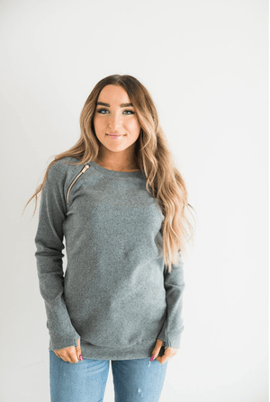 SideZip Pullover- Charcoal - Hello, Sunshine Market