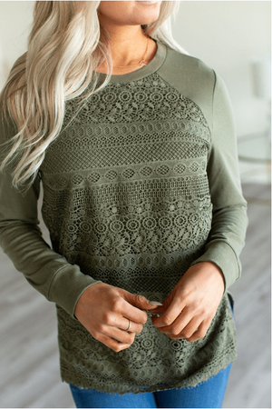 Lace Front Top - Olive - Hello, Sunshine Market