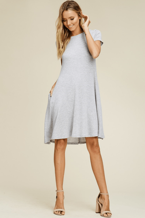 Heather Grey T-Shirt Dress With Side Pockets - Hello, Sunshine Market