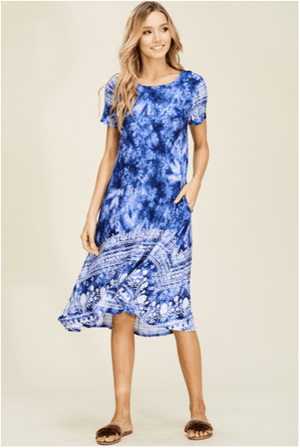Navy Tie Dye Floral Midi Dress - Hello, Sunshine Market