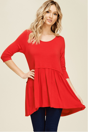 Red Tunic Top With Ruffle Hem