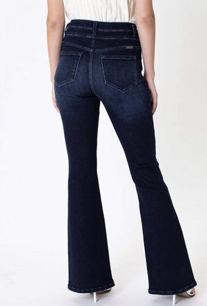 High Rise Double Button Flair Jeans