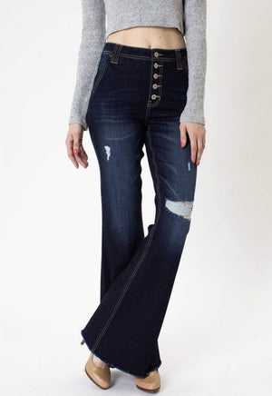 High Rise Button Fly Flare Jeans