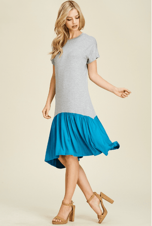 (Small) - Heather Grey And Blue Color Block Dress