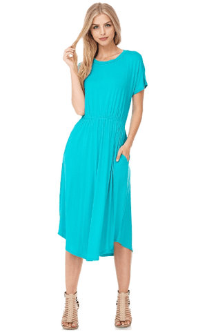 Solid Aqua Knit Midi Flare Dress