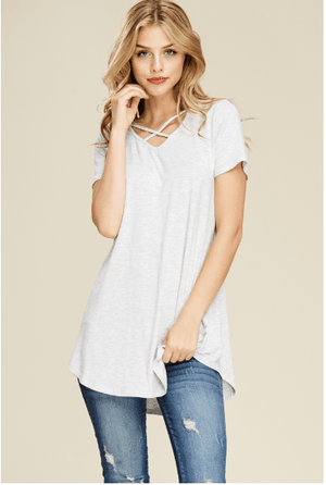 Light Grey Crisscross Tunic Top