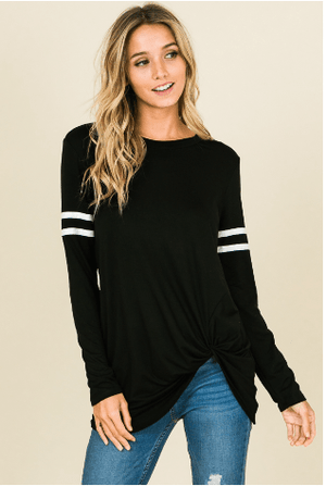 Black Long Sleeve Top With Front Knot - Hello, Sunshine Market