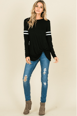 Black Long Sleeve Top With Front Knot