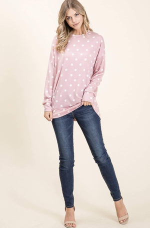 Pink Polka Dot Fleece Top
