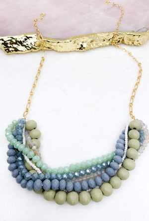 Grey Glass And Wood Bead Statement Neckless