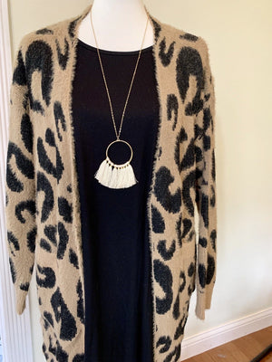 Long Sleeve Eyelash Leopard Cardigan