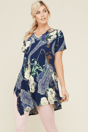 Plus Navy Paisley Floral Tunic Top