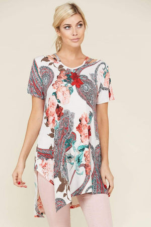 White Paisley Floral Tunic Top