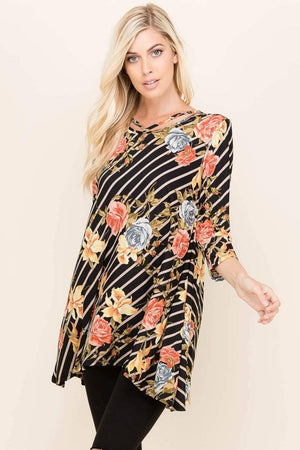 Black Diagonal Stripe Floral Tunic Top