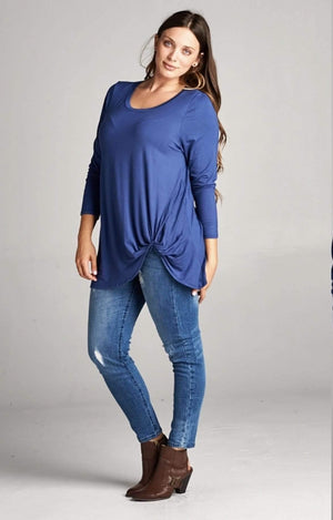 Indigo Long Sleeve Twist Tunic Top - Hello, Sunshine Market