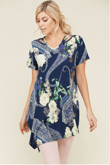 (2XL) - Plus Navy Paisley Floral Tunic Top