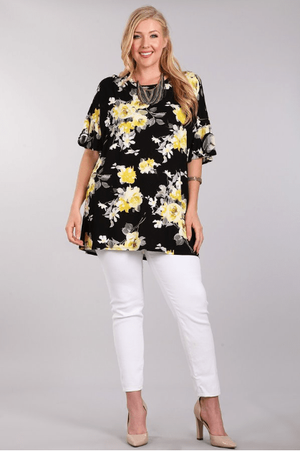 Plus Black And Yellow Floral Print Tunic Top