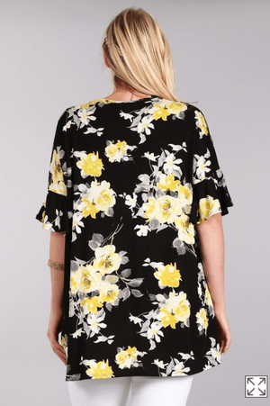 Plus Black And Yellow Floral Print Tunic Top - Hello, Sunshine Market