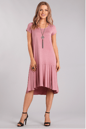 Antique Mauve Jersey Knit Midi Dress