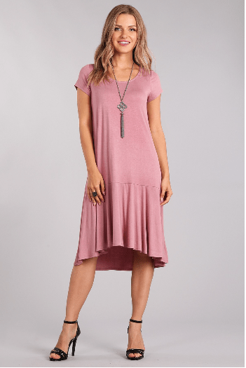 (Small) - Antique Mauve Jersey Knit Midi Dress - Hello, Sunshine Market