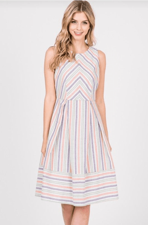 (Medium, Large) - Coral / Purple Striped Sleeveless Midi Dress