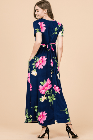(Small) - Navy Floral Belted Maxi Dress