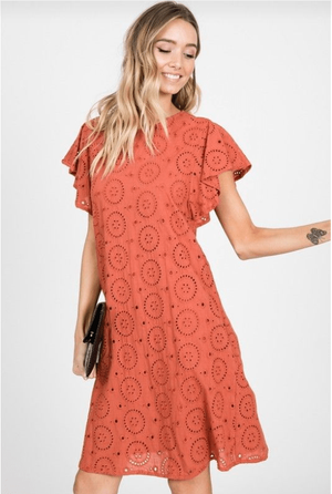 Rust Eyelet Lace Midi Dress - Hello, Sunshine Market
