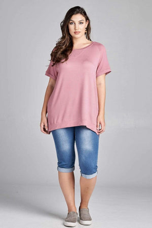 (Small and 3XL) Mauve French Crew Neck Tunic Top
