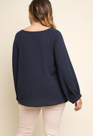 Navy Gathered Waist Top