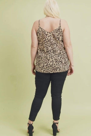 Animal Print Cami With Lace Detail