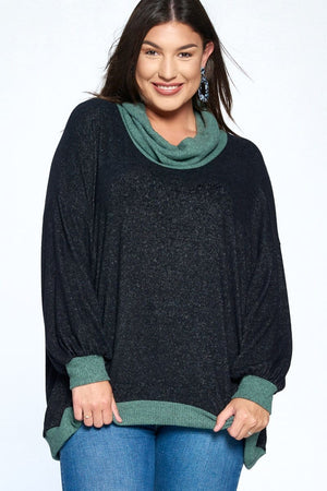 Color Block Cowl Neck Sweater