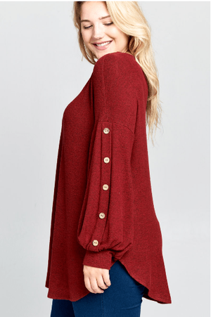 Plus Burgundy Balloon Sleeve Top With Button Detail