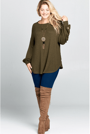 Plus Olive Balloon Sleeve Top With Button Detail