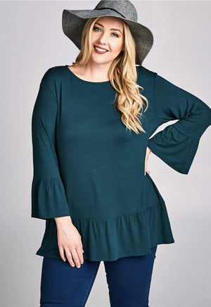 Hunter Green Tunic Top With Ruffle Bell Sleeves