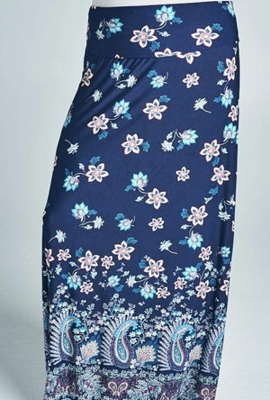 Navy Floral And Paisley Maxi Skirt