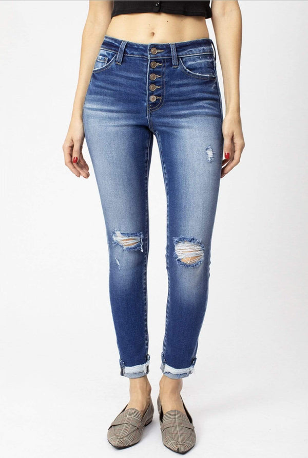 High Rise Button Down Ankle Skinny Jeans
