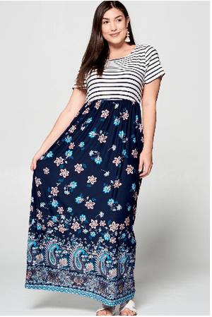 (1XL, 3XL) - Striped Floral Maxi Dress - Hello, Sunshine Market