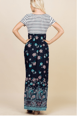 Striped Floral Maxi Dress