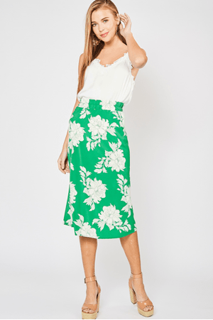 (Medium, Large) - Green Floral Print Skirt - Hello, Sunshine Market