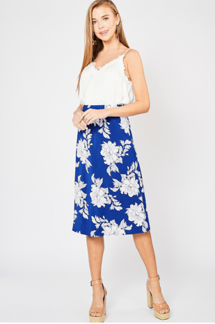 (Medium, Large) - Royal Blue Floral Print Skirt - Hello, Sunshine Market