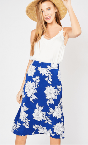 Royal Blue Floral Print Skirt