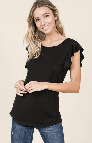 Black Short Sleeve Ruffle Top - Hello, Sunshine Market