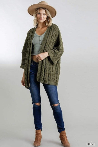 Olive Cable Knit Cardigan - Hello, Sunshine Market