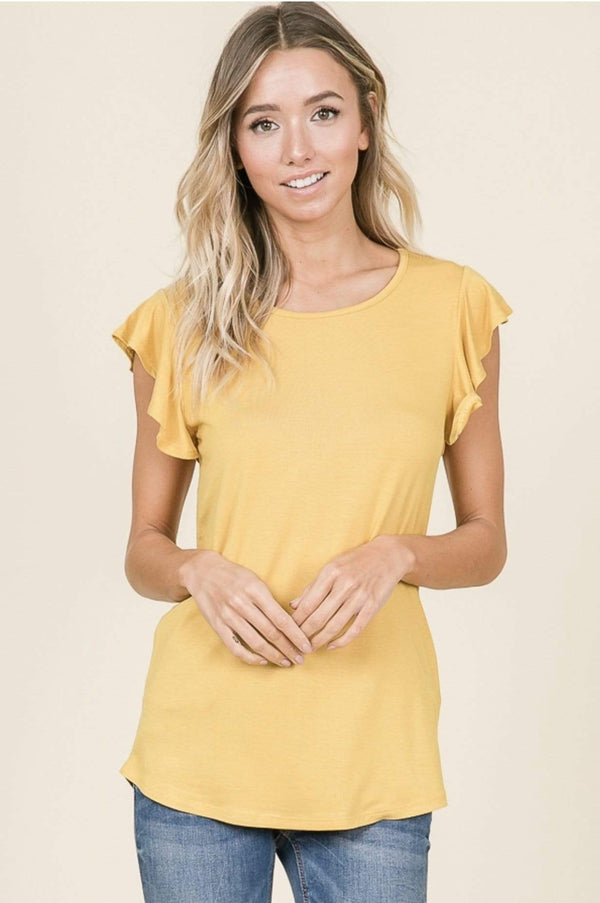 ( XL ) Mustard Short Sleeve Ruffle Top