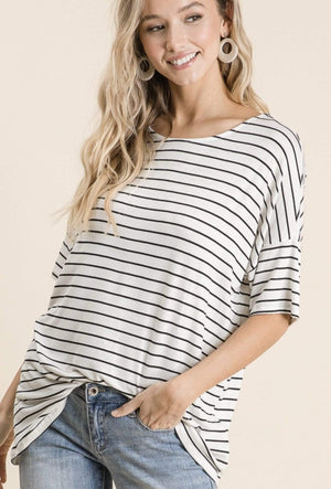 Ivory & Navy Stripe Drop Shoulder Top