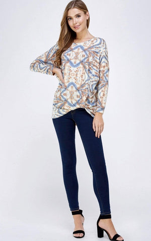 Aztec Twist Knot Long Sleeve Top