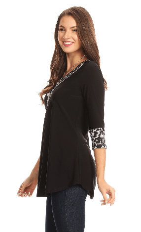 Plus Black With Silver Trim Tunic Top