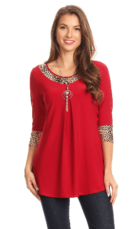 Plus Red And Tan Cheetah TrimTunic Top