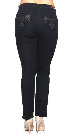 Black Stretch Denim Jeans In Missy And Plus